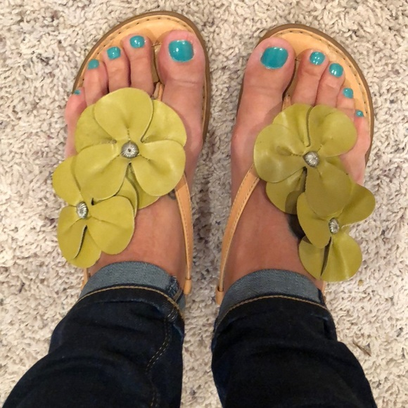 6bb82e3efc34 Born Shoes - Green flower sandals